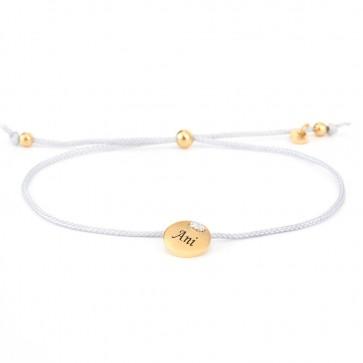 Armband Parma grau mit rundem Gravurplättchen in Gold