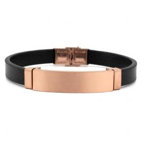 Armband Chicago schwarz mit Edelstahlspange in Rosé