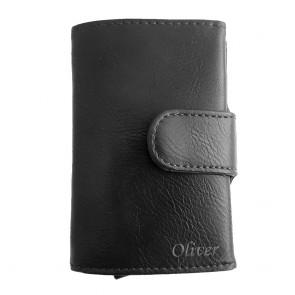 Kreditkartenetui aus Leder mit RFID-Schutz schwarz