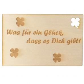 """Holzpostkarte """"Was für ein Glück, dass es dich gibt"""""""