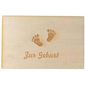 """Holzpostkarte """"Zur Geburt"""""""