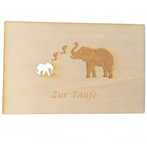 """Holzpostkarte """"Zur Taufe"""""""