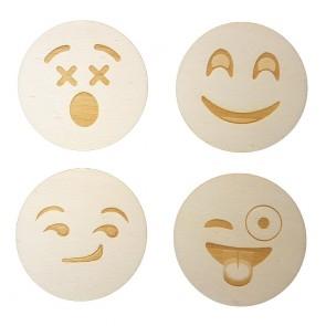 Holzuntersetzer mit Smiley Motiv 4Stk aus Pappelholz