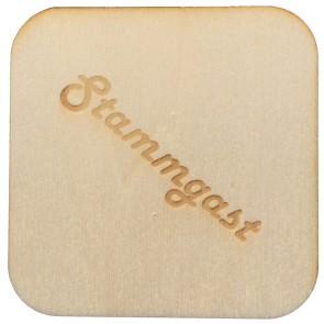 Holzuntersetzer mit Textgravur quadratisch 4Stk aus Pappelholz