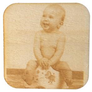 Holzuntersetzer mit Fotogravur quadratisch 4Stk aus Pappelholz