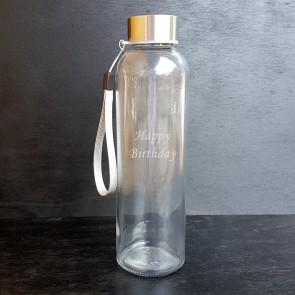 Trinkflasche aus Glas mit Wunschgravur