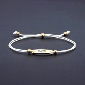 Armband Verona weiß mit eckigem Gravurplättchen in Gold