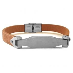 Armband Washington braun mit Edelstahlspange in Silber