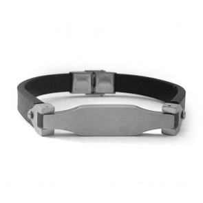 Armband Washington schwarz mit Edelstahlspange in Silber