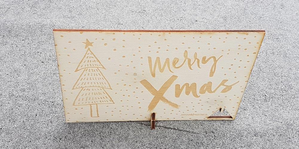 Postkarte Holz mit Laser Gravur