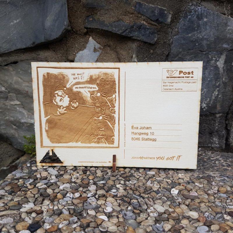 Holzpostkarte graviert mit Laser